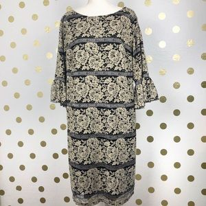 Eliza J Black & Nude Lace Shift Dress Size 18W